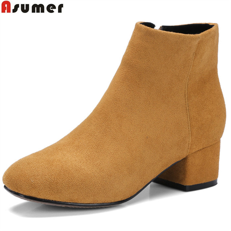 Asumer hot sale new women boots fashion flock zipper square toe simple ladies autumn winter boots square heel ankle boots цены онлайн