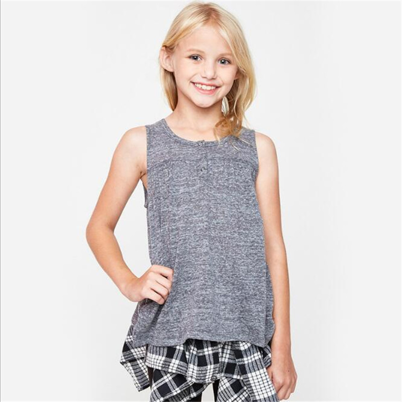 Big Girls Cotton Casual T-shirts Teenager Fashion Jumper Tops 2017 Junior Summer clothes baby clothes