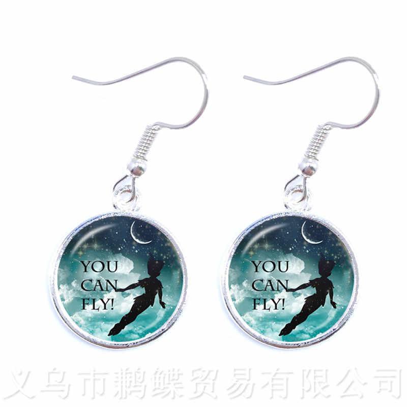 2018 New Jewelry Women's Fashion PETER PAN Neverland Tinkerbell Earrings Photo Art Glass Cabochon X-Mas Best Gift