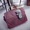free shipping wine red/black/grey/deep grey Geometry PU material women students girls shoulder bag  handbag