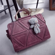 free shipping wine red/black/grey/deep grey Geometry PU material women students girls shoulder bag  handbag