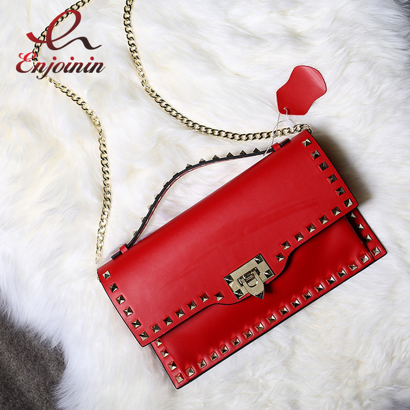 Fashion classic design Genuine leather rivets clutch bag envelope bag ladies chain shoulder bag handbag crossbody messenger bag new punk fashion metal tassel pu leather folding envelope bag clutch bag ladies shoulder bag purse crossbody messenger bag
