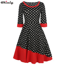 Oxiuly  Autumn Dresses Women Polka Dot Print 1950s Style Tunic Pinup Wear To Work Office A Line Party Elegant Vintage