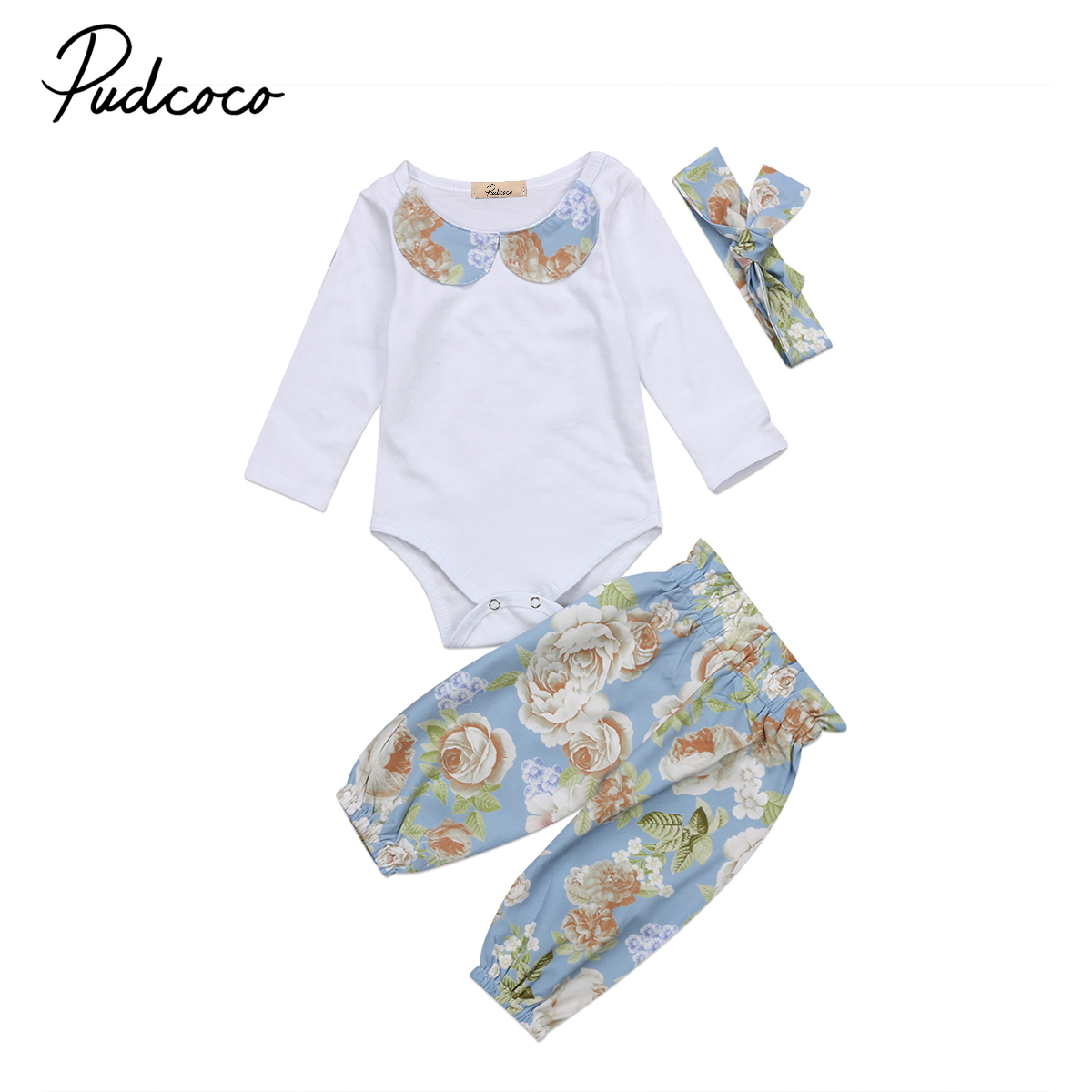 3Pcs Adorable Floral Baby Girl Clothes Newborn Kids Baby Girls Long Sleeve Romper Flower Pants Flower Outfits Set Clothes