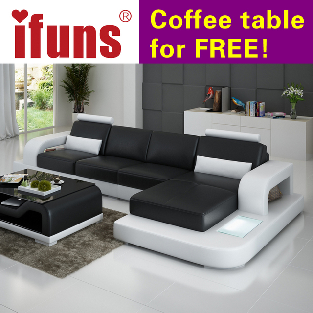 Ifuns Unique Leather Sofa Living Room Set Modern Design Recliner Corner Sectional Top Grain