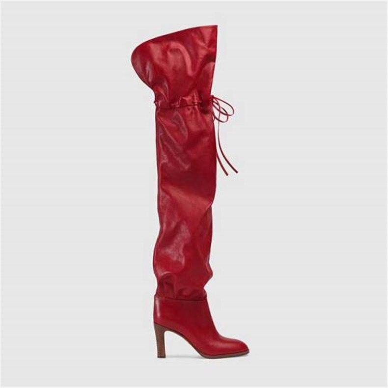 Las Pie Slip De Negro Caliente larga Tacón rojo Redondo Abesire Venta 2019 Pista Alto on Botas Dedo Damas Rodilla Sobre Del La Mujeres Chicas nv8xIw