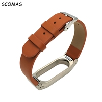 SCOMAS Leather Strap For Xiaomi Miband 2 Bracelet Miband2 Smart Watch For Xiaomi Mi Band 2