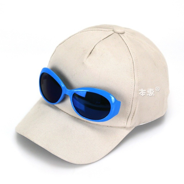234398e296d Unisex Child Big Brim Baseball Sun Hat Kid Glasses Design Spring Autumn  Adjustable Solid Cotton Baseball