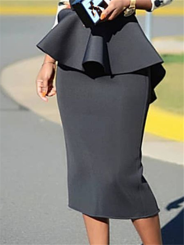 Women Bodycon Pencil Skirt High Waist Slim Ruffles Modest Package Hip Tight Classy Saias Jupes Falads Elegant Office Work Wear