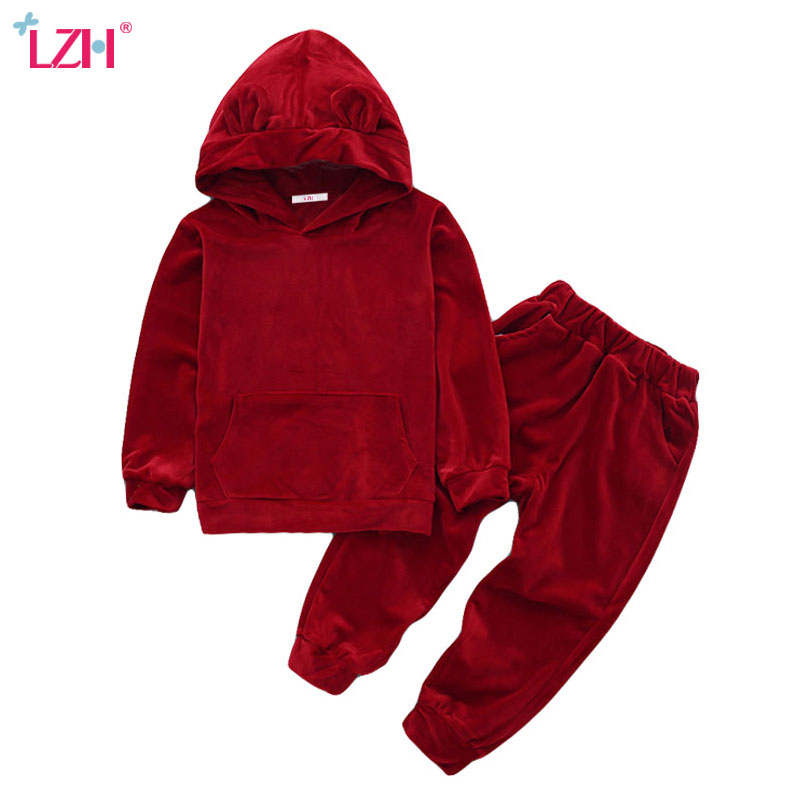 LZH Children Clothes 2018 Autumn Winter Girls Clothes Set Velvet Hoodies+Pants 2pcs Outfit Kids Sport Suit For Boys Clothing Set kids clothes autumn winter boys gold velvet clothing set school children warm thicken sport suit fashion kids tracksuit