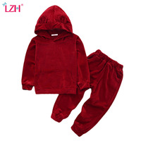 LZH Children Clothes 2018 Autumn Winter Girls Clothes Set Velvet Hoodies Pants 2pcs Outfit Kids Sport