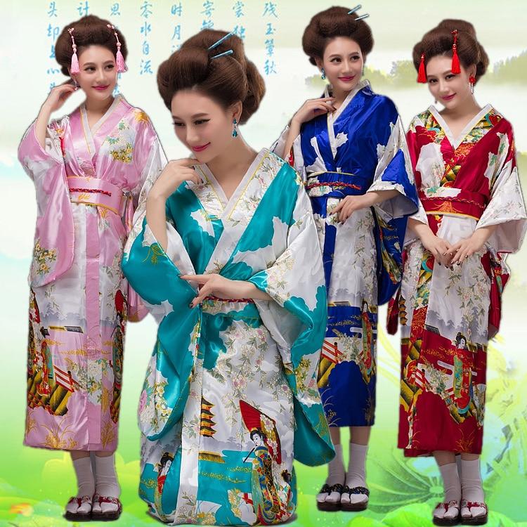 Bathrobe Formal Sleepwear Traditional Costume Traditional Japanese Women's Kimono Haori Obi Yukata Satin Evening Dress Flower