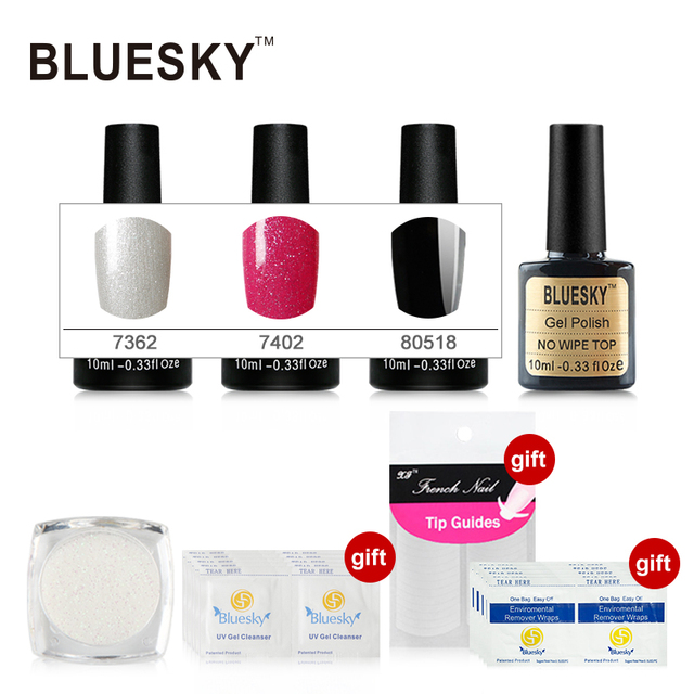 China Supplier Bluesky 100% Genuine Gel Polish 3pcs Color Gel 1pcs No Wipe Top Free Gifts