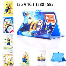 Tablet Case For Samsung Galaxy Tab A A6 10.1 2016 T580 T585 T580N Cover Cartoon Series Despicable Me Minion Stand Leather Funda case for samsung galaxy tab a a6 10 1 2016 t580 sm t585 t580n cover funda tablet fashion cartoon cat print tpu pu leather shell