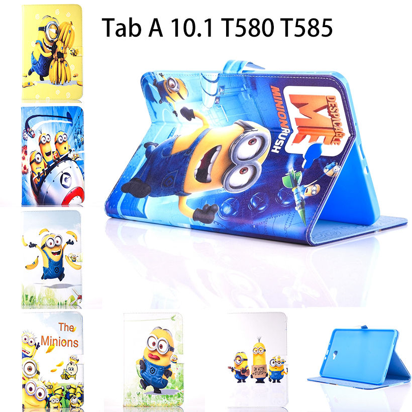 Tablet Case For Samsung <font><b>Galaxy</b></font> <font><b>Tab</b></font> A A6 10.1 2016 <font><b>T580</b></font> T585 T580N Cover Cartoon Series Despicable Me Minion Stand Leather Funda image