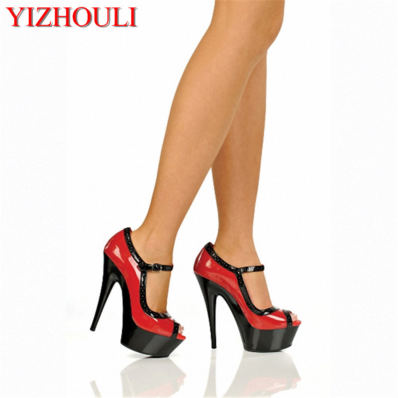 Single shoes platform fish mouth shoes 5 inches sexy stilettos color piece of 15 cm super high heels for women's shoes emphasis has been placed on the appeal of shoes pu sandals 15 cm super stilettos model stage photos of shoes