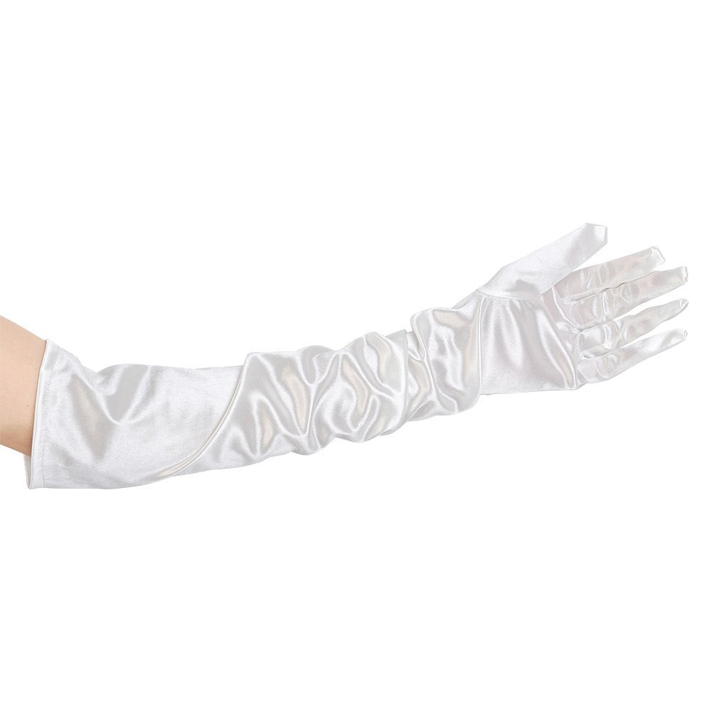 SZ-LGFM-21 Inch Women Arm Long Satin Elbow Gloves For Evening Wedding Fancy Dress Costume - White