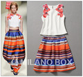 Free Ship 2014 Spring/Summer New Runway Fashion Women's Three-dimensional Beads Flower Vest Top+ Color Striped Tutu Skirt Suit
