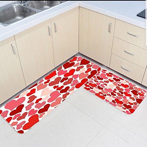 2 pièces cuisine tapis et tapis ensemble rouge amour coeurs maison décorer antidérapant chambre salon paillassons