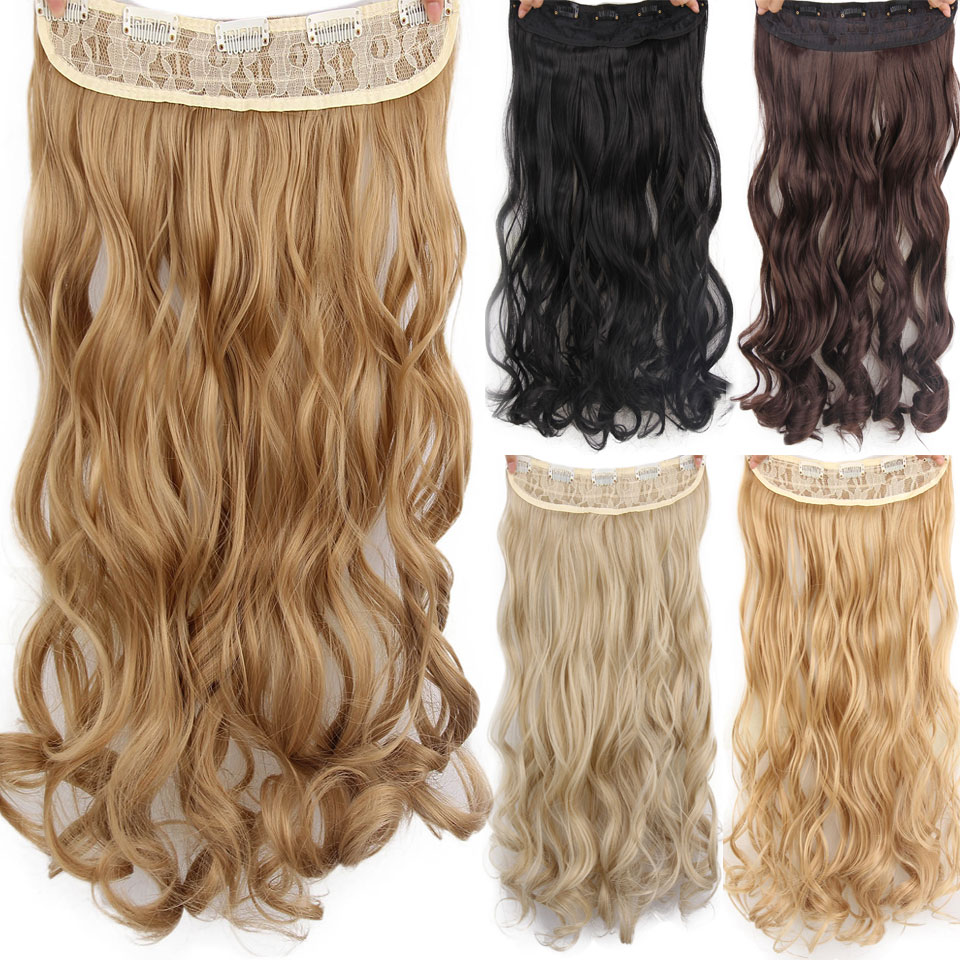 AISI HAIR 22″ 17 Colors Long Wavy High Temperature Fiber Synthetic Clip in Hair Extensions for Women