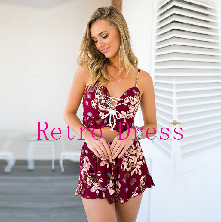 two pieces set floral print women jumpsuit & rompers Summer fitness short playsuits Sexy backless girls overal ...
