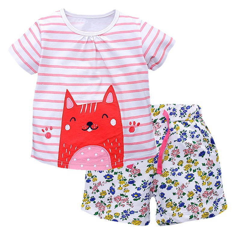 VIDMID Summer Girls Casual Clothes Set Children Short Sleeve Cartoon T-shirt + Shorts Sport Suits Girls Clothing Sets for Kids summer kids clothes sport sets for girls sea short sleeve t shirts denim shorts children korea style cotton clothing suits