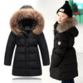 2016 children's down jacket for girls winter coat 90% white duck down natural hair collar hooded kids winter jacket Parkas