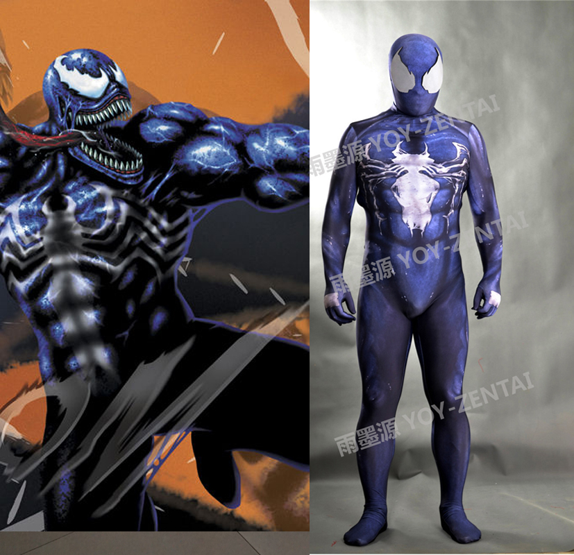 MovieCoser Best Quality New Venom Cosplay Costume Venom Spandex Zentai Suit Venom Lycra Muscle Cosplay Suit Custom Made