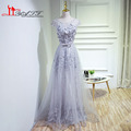 Gray A Line Online Wholesale Tulle O Neckline Pageant Gowns With Flowers Backless Cheap Evening Prom Dresses Bow Sashes formal