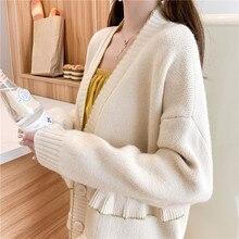 Autumn Women Oversized Cardigan Sweaters Ruffle Hem Design Soft Knitwear V-neck Textured Knitted Cardigans Woman Wool Sweater недорого