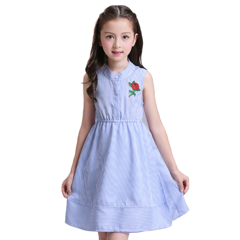 2019 Summer Big Girls Dress Children Striped Vestido Kids Sleeveless Vest Rose Embroidery Dresses European Style for 6y-12y