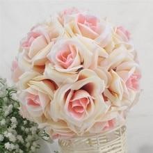 Hot 15x21cm Handmade Artificial Rose Flowers Kissing Hanging Ball DIY Bouquet Home Wedding Party Decor LFD