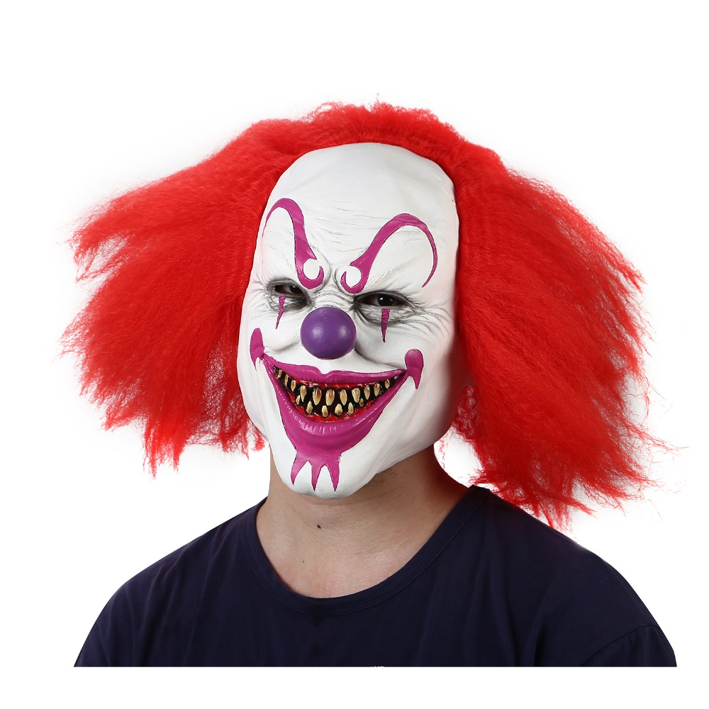 Halloween Clown.Us 17 83 28 Off Halloween Scary Clown Mask Prop For Masquerade Clowns Horrible Latex Clown Mask With Hair For Adults Devil Flame Zombie Mask In