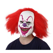 Halloween Scary Clown Mask Prop for Masquerade Clowns Horrible Latex Clown Mask With Hair for Adults Devil Flame Zombie Mask