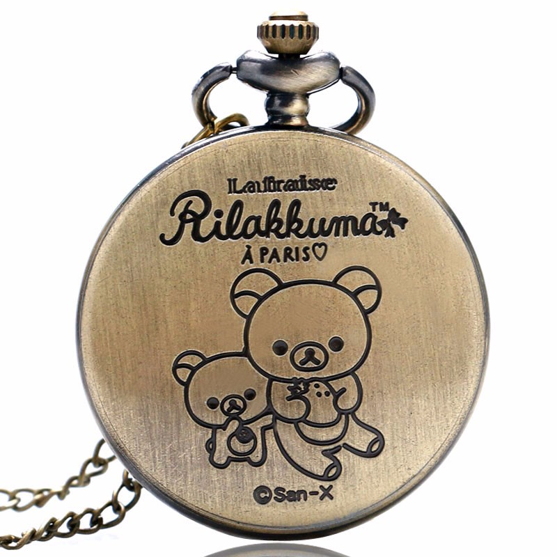 Dropshipping Free Shipping Bronze Hollow Bear Strawberry Eiffel Design Quartz Pendant Necklace Pocket Watch Gift To Children
