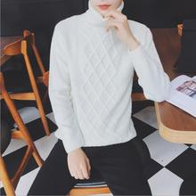 2019 White Warm Men's Casual Male Comfortable Jacquard Sweater Turtleneck Pullovers