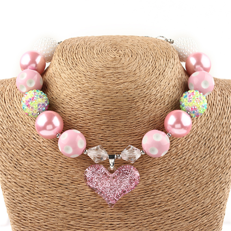 2018 Kids Chunky Necklace Lovely Pink Loveheart Bubblegum Necklace Toddler Jewelry Rainbow Pink Kids New Jewelry Birthday Gift