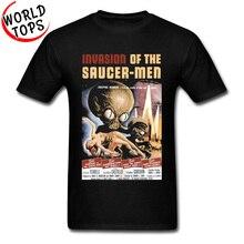 La invasión de platillo hombres ufo Alien T camisa Vintage cartel de la película personalizado gráfico camisetas para hombres de moda nuevo Top