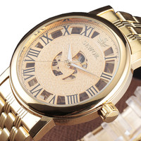 SEWOR Big Dial Design Hollow Engraving Gold Case Stainless Steel Skeleton Mechanical Watches Men Stainless Steel