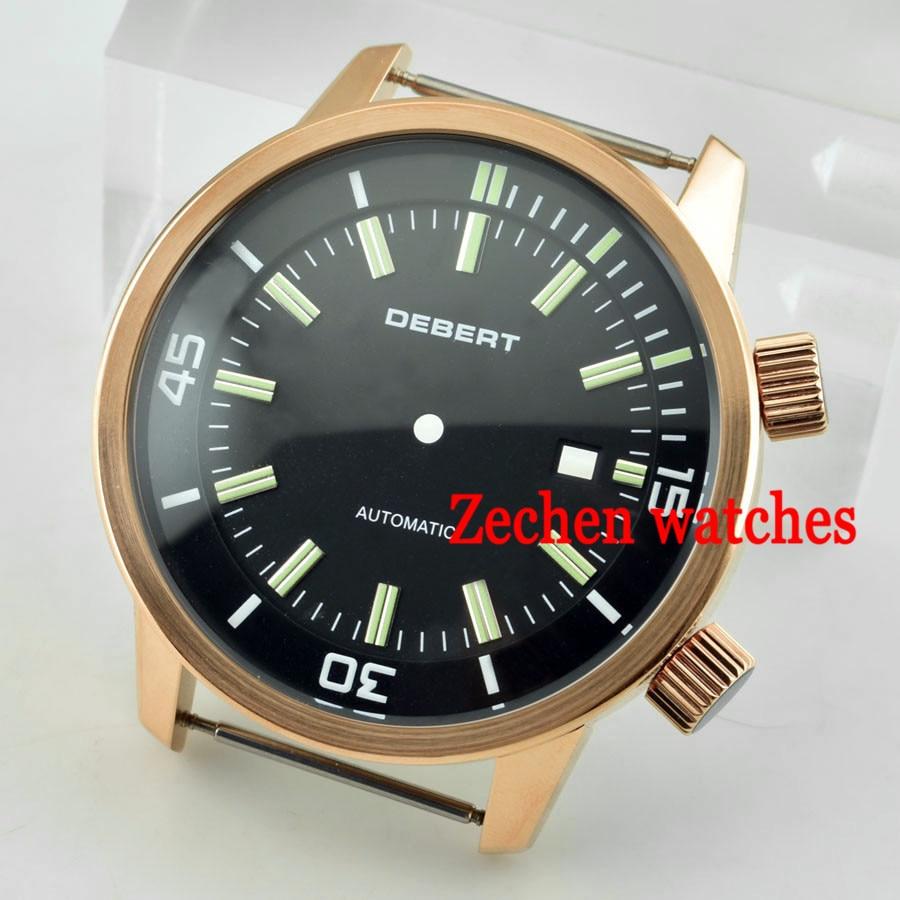 DEBERT 45mm Stainless steel watch case+black dial fit DG2813 Miyota 821A/8215 Movement debert 45mm white dial miyota 821a movement automatic date day mens watch