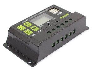 Image 3 - FOXSUR Năng Lượng Mặt Trời Charge Controller 12 V 24 V Auto LCD Hiển Thị với kép USB 5 V Đầu Ra 30A 20A 10A PWM Solar Charger điều chỉnh