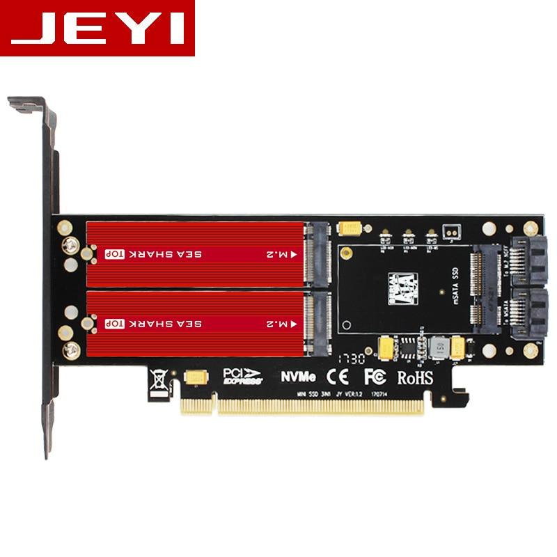 JEYI SK16-PRO NVME NGFF Adaptateur x16 PCI-E3 Pleine Vitesse M.2 2280 en aluminium feuille Thermique conductivité plaquette de silicium ventilateur de refroidissement SSD