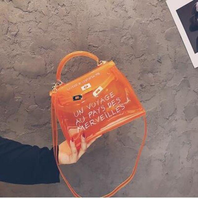 62a3fe9105 2018 Summer Hot Matte Transparent Jelly Bag Letter Printing Beach Bag  Famous Designer Handbags High Quality Women Tote Bag