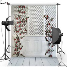 White Wall Indoor Vinyl Photography Background Wood Floor Oxford Backdrop For Wedding photo studio Props 1217