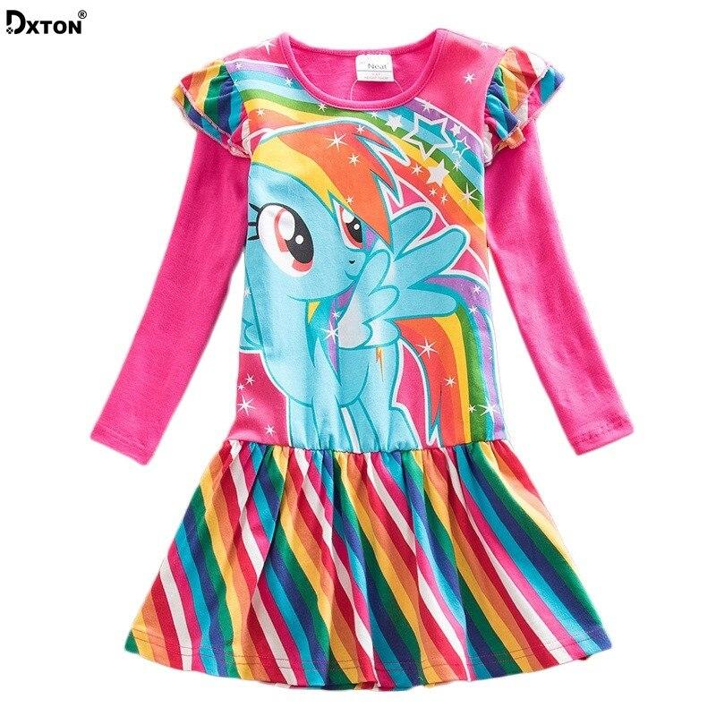 Dxton Kids Dress For Girls Cartoon Girls Clothes With Animal Girls Dress Long Sleeve Autumn and Winter Dress Children Clothing 2