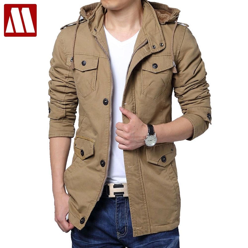 Winter Jacket Men Big size Cotton Jackets Man Hoody Collar Medium length Thicken Solid Zipper Slim Outerwear Asia Size S-6XL