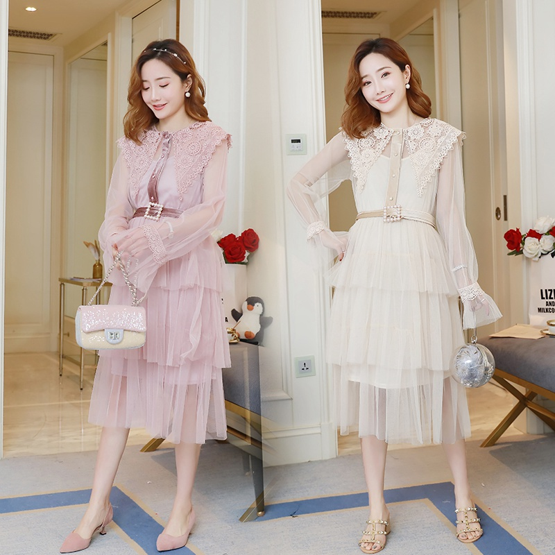 2019 spring fashion new maternity dress Korean version of the tide mother long section mesh lace dress pregnancy dress2019 spring fashion new maternity dress Korean version of the tide mother long section mesh lace dress pregnancy dress