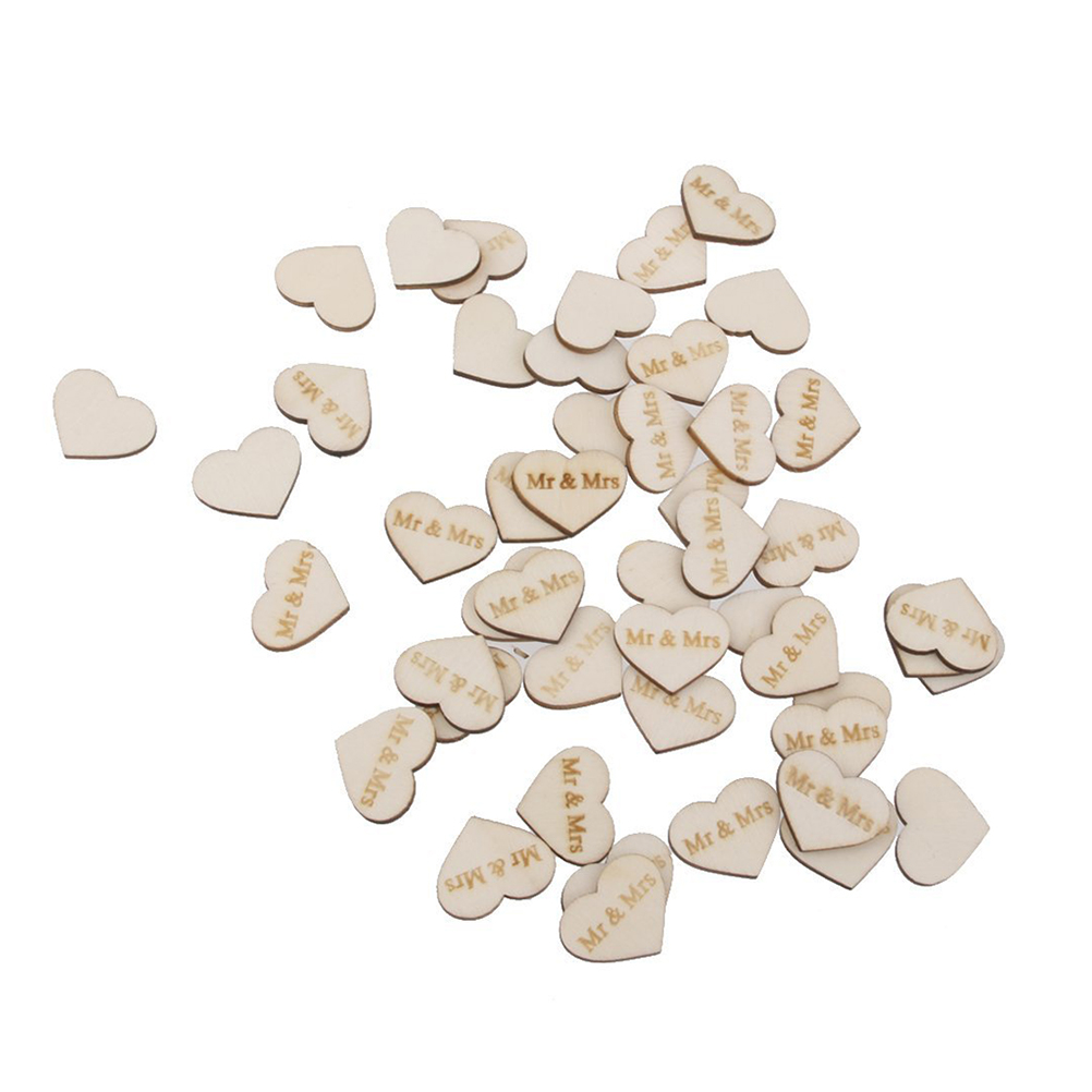 Unfinished wood craft pieces - 50pcs Mr Mrs Wooden Heart Shape Scrapbooking Embellishment Wedding Decor Ornament Unfinished Natural Wood Crafts Supplies