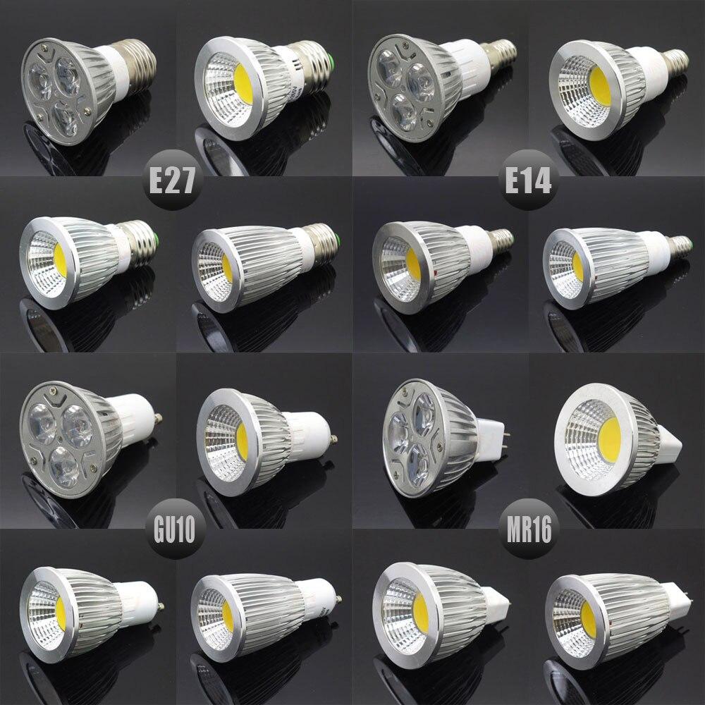 Dimmable E27 E14 GU10 MR16 LED COB Spotlight Ultra Bright 6w 9w 12w 15w Spot Light Bulb High Power Lamp AC DC 12V Or 85-265V