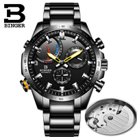Suíça binger relógio masculino mecânico automático relógios de marca de luxo à prova dwaterproof água relogio masculino reloj relógios aço completo Relógios mecânicos     -